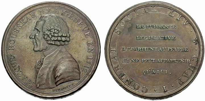 2. Monneron à l'effigie de J.J. Rousseau (photo Münzen & Medaillen Deutschland GmbH > Vente aux enchères24. Prix de vente : 130 euro)
