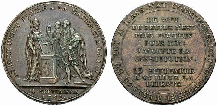 Monneron au Serment du roi (photo Münzen & Medaillen Deutschland GmbH > Vente 24. Prix réalisé : 160 euro)