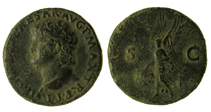 Monnaie de bronze de Néron à la Victoire ailée