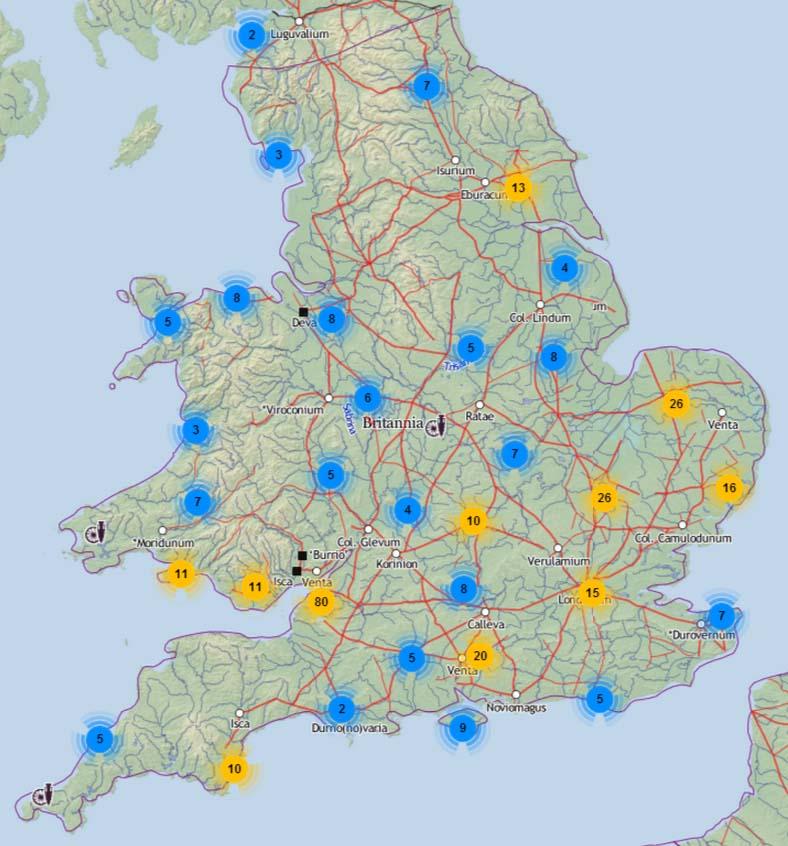 Carte des découvertes des monnaies de Néron par les détecteurs de métaux en Angleterre