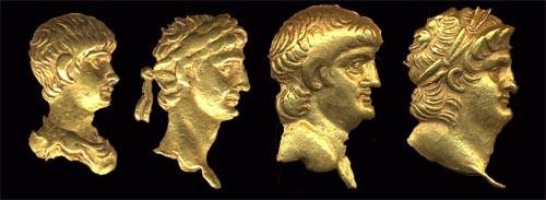 Portraits de Néron d'après les monnaies d'or du British Museum