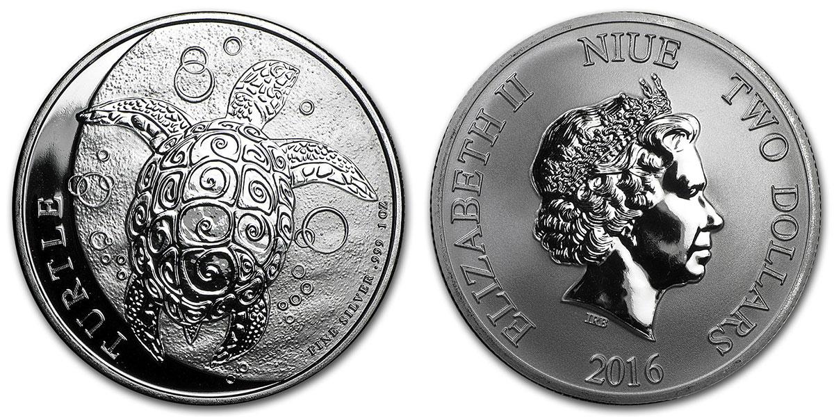 Photo avers et revers de la pièce d'argent d'une once Tortue de Nive (Nive Turtle)