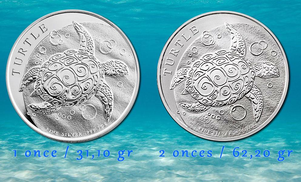 Photo des 2 pièces d'argent Niue Turtle 1 once et 2 onces
