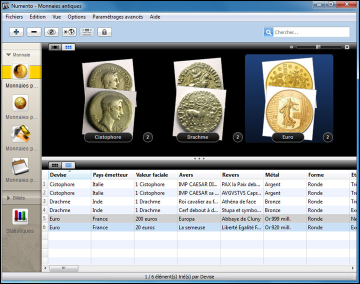 Numento permet aux collectionneurs d'inventorier leur collection de monnaies