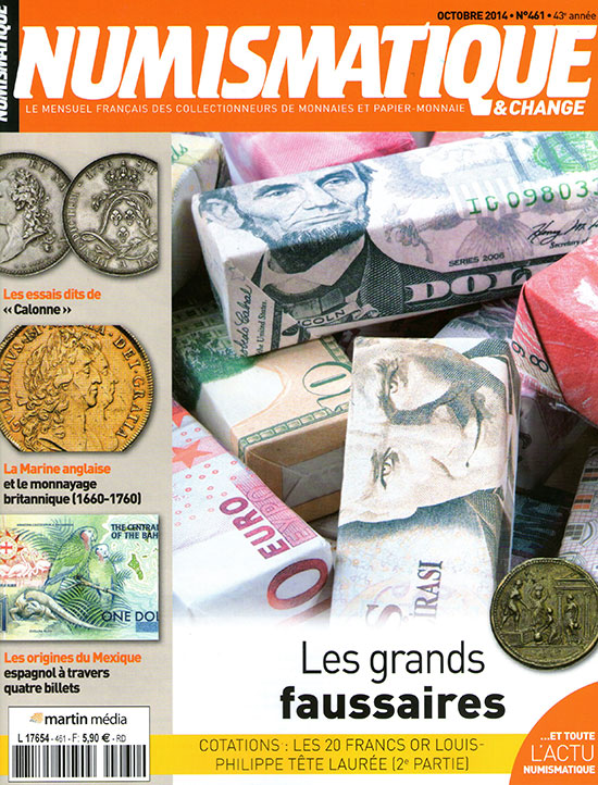 Numismatique et Change Magazine, numero 461 octobre 2014