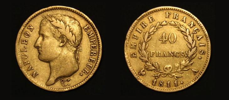 Pièce d'or française du début du XIXème siècle : double Napoléon de 40 francs or