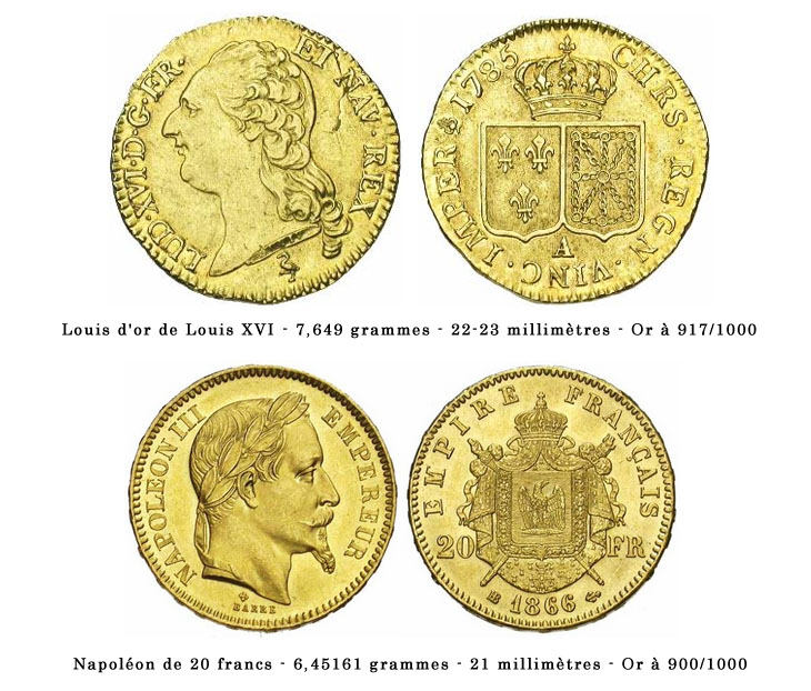 Photo d'un Louis d'or et d'un Napoléon de 20 francs or