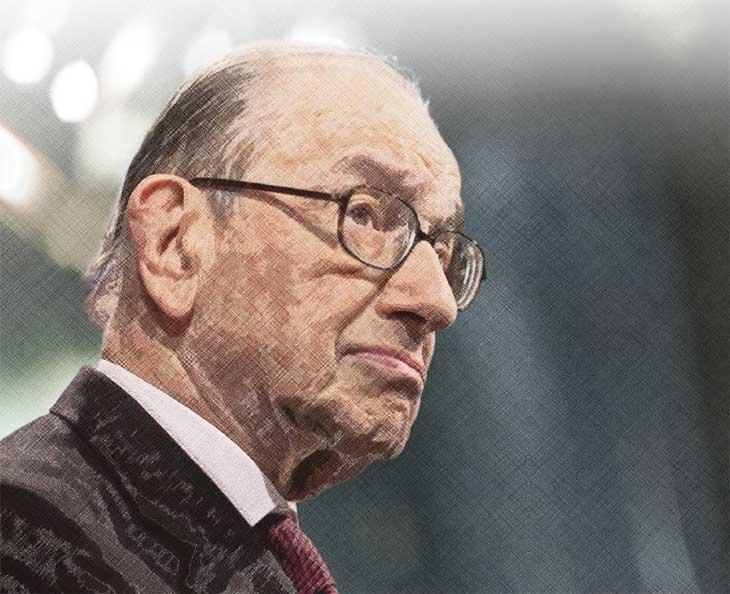 Portrait d'Alan Greenspan, Président de la Réserve Fédérale Américaine de 1987 à 2009