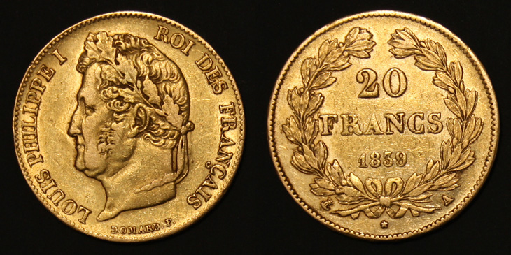 20 francs or Louis Philippe 1839 A