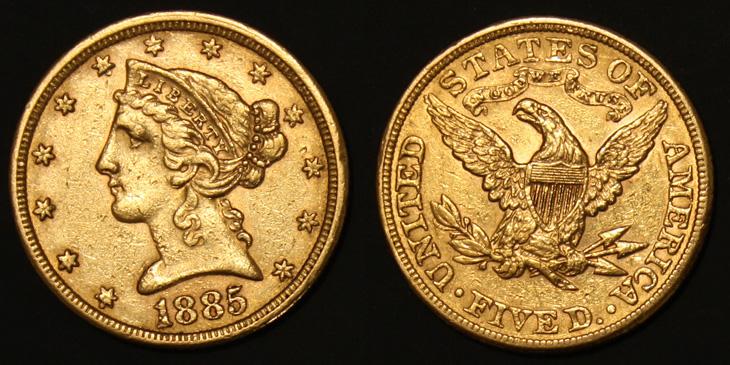 5 dollars or Liberty Head 1885