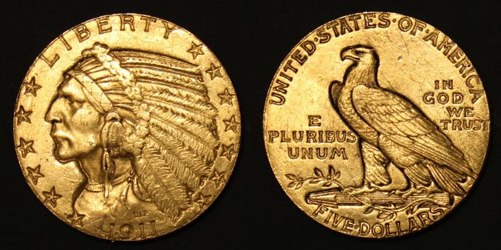 5 dollars or tête d'indien 1911