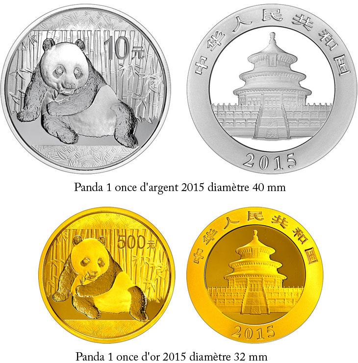 Pièces d'or et d'argent Panda Chine 2015