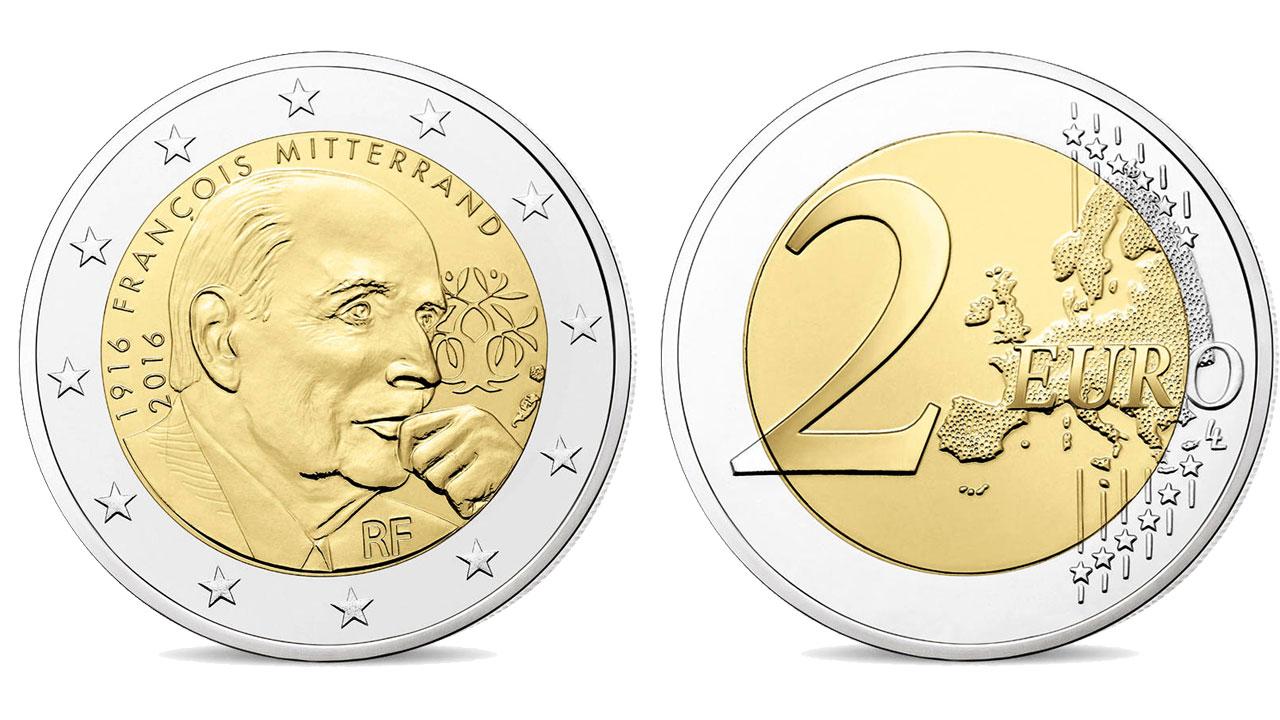 Photo de la pièce de 2 euro commémorative François Mitterrand