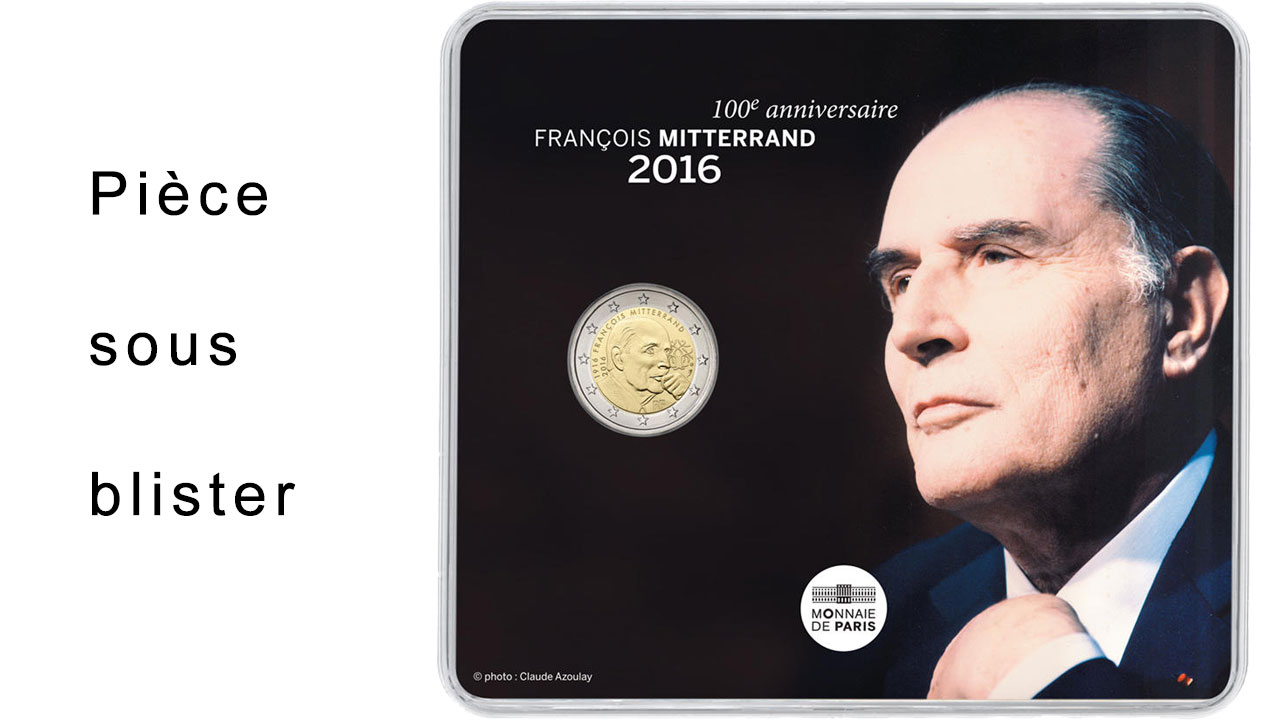 Blister de la pièce de 2 euro François Mitterrand
