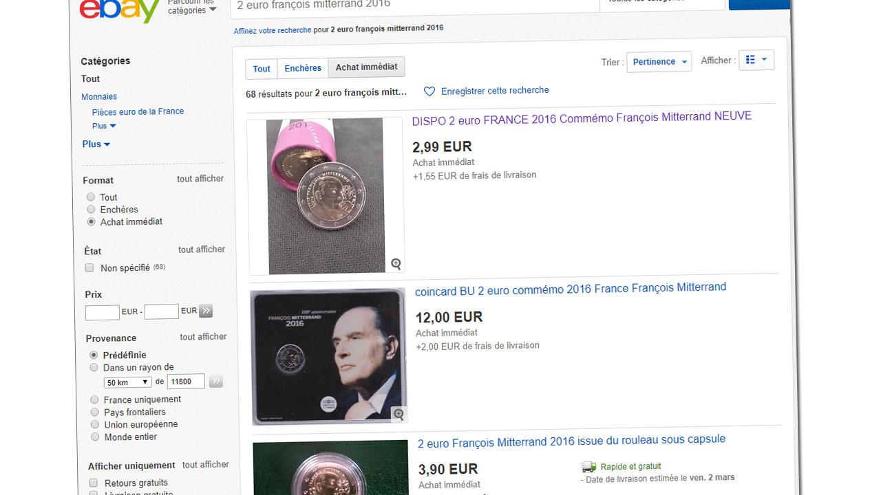 Capture d'écran d'ebay France : les pièce de 2 euro François Mitterrand se vendent à partir de 3 euro