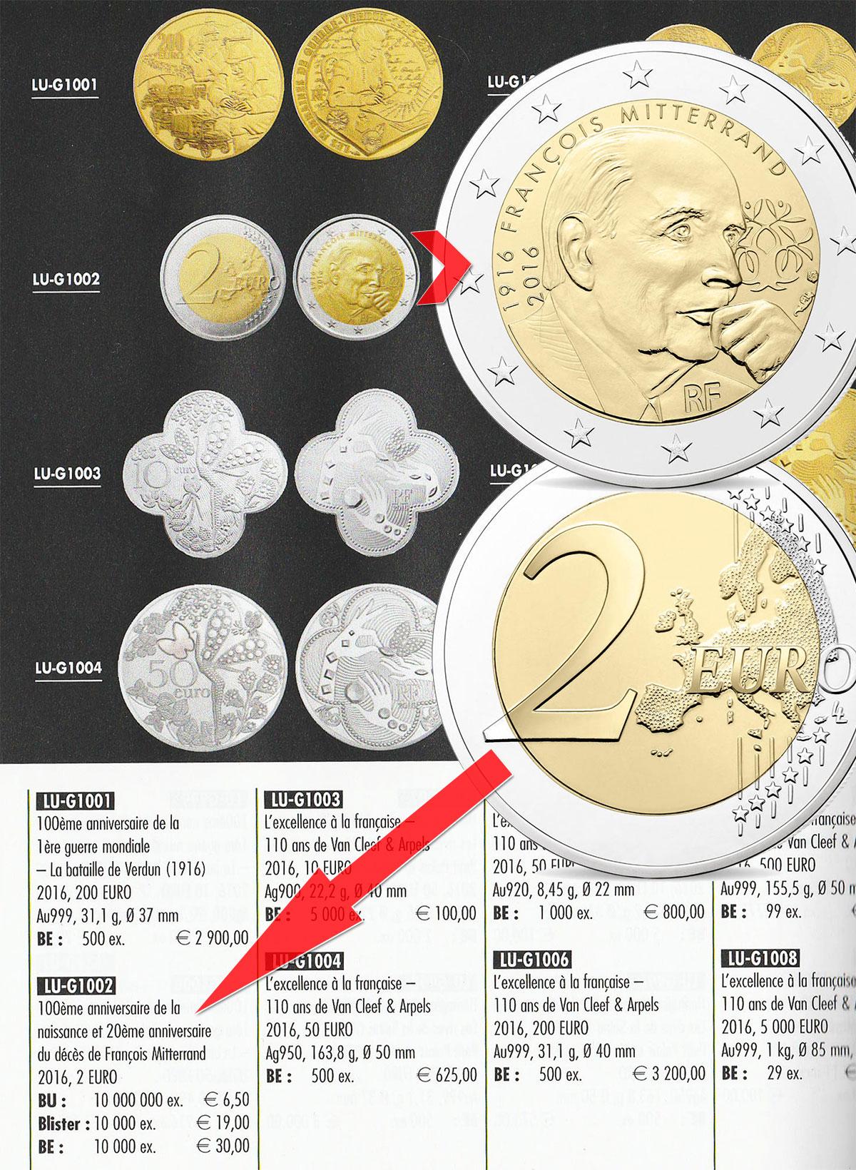 Cotation de la pièce de 2 euro François Mitterrand dans le catalogue euro 2018 Leuchtturm