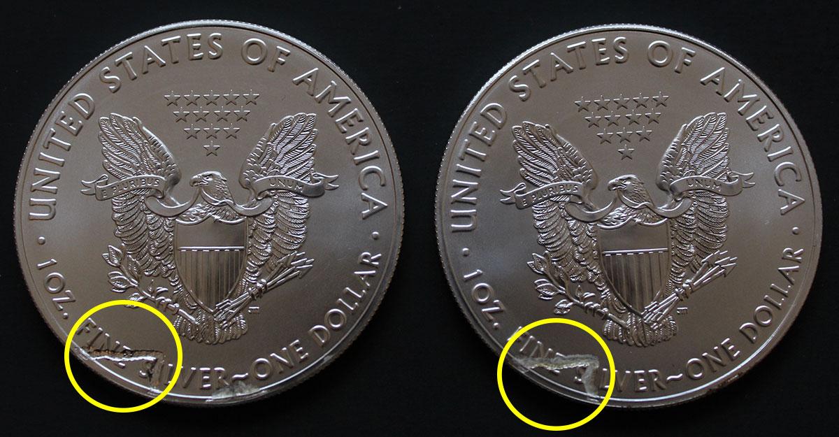 Deux pièces américains Silver Eagle Comportant des défauts de fabrication