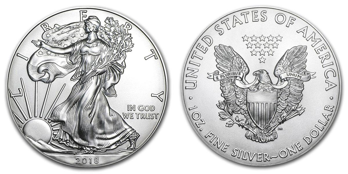 Photo de la pièce américaine d'investissement en argent American Silver Eagle 2018