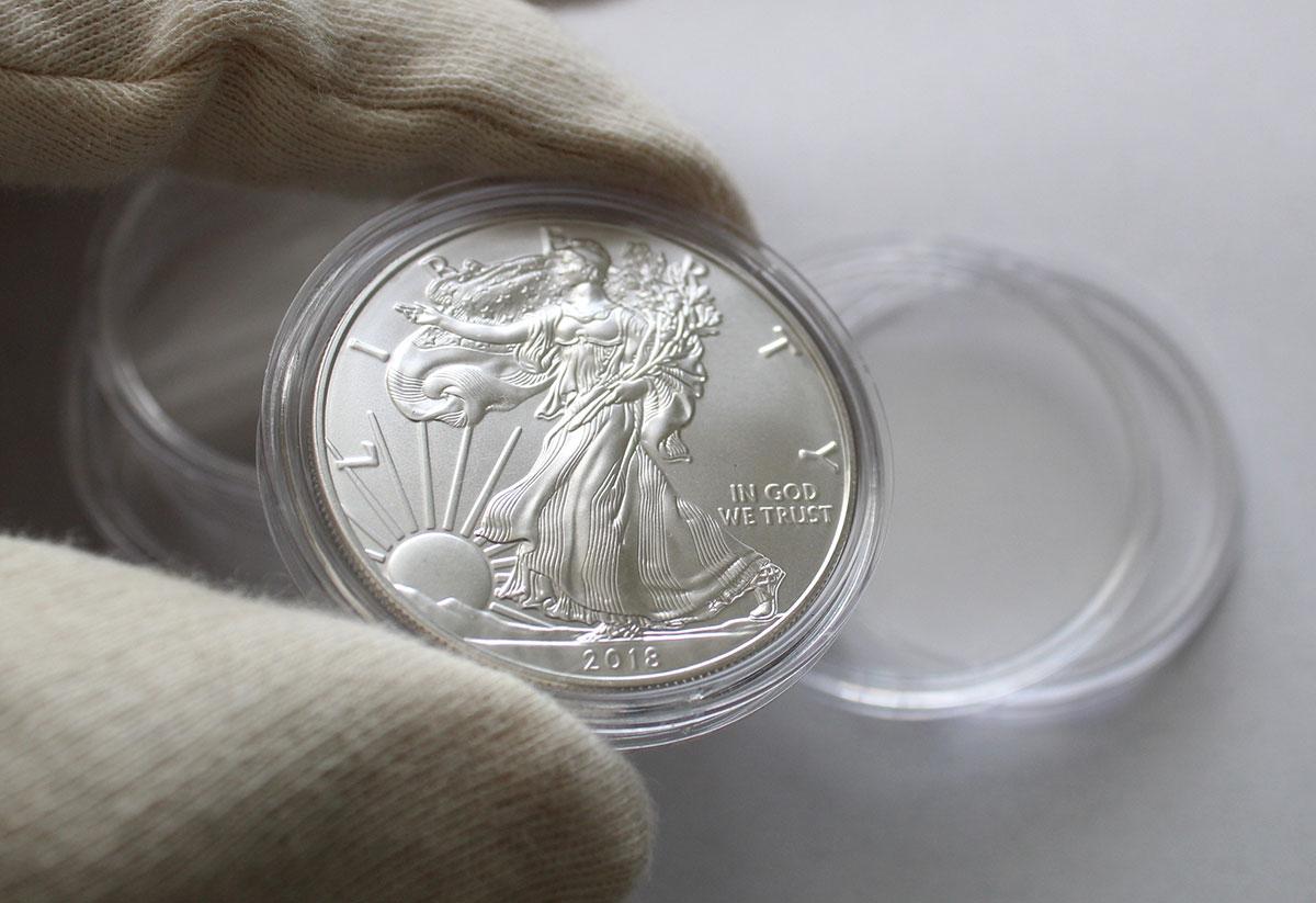Photo des capsules rondes pour pièces d'argent American Silver Eagle