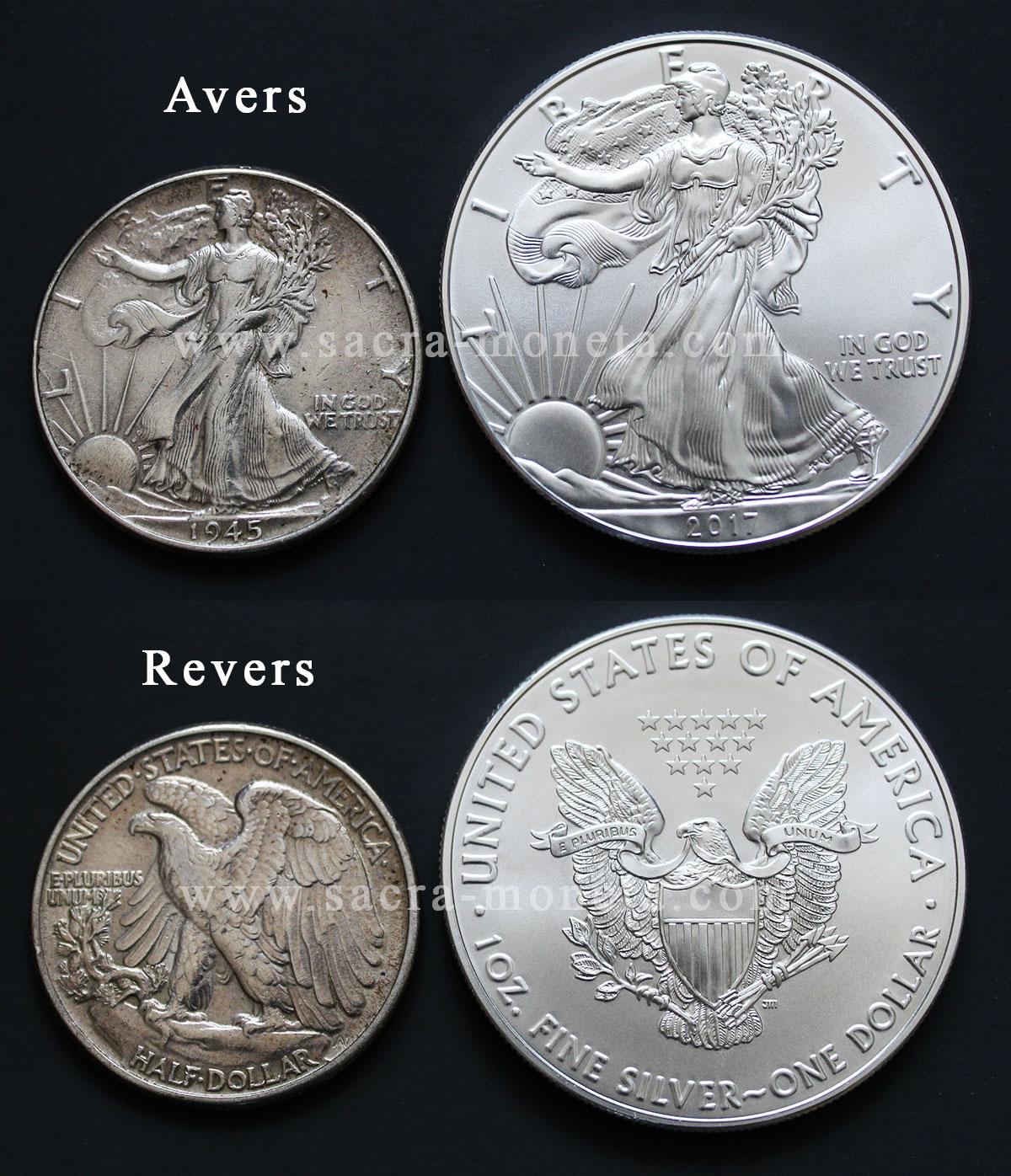 Photo des pièces demi dollar Liberty et American Silver Eagle