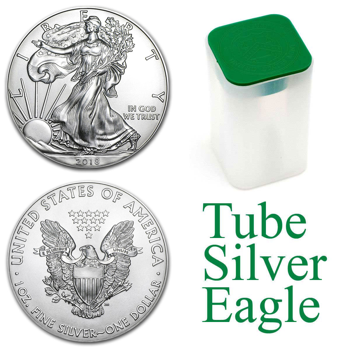 Photo d'un tube contenant de 20 pièces d'argent American Silver Eagle