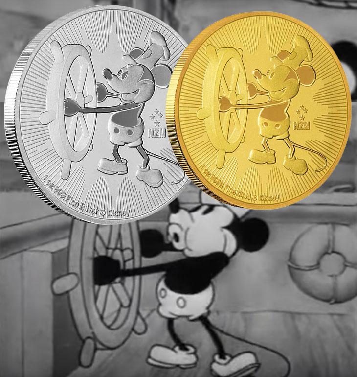 Photo des nouvelles pièces d'or et d'argent d'investissement Nouvelle Zélance (Niue) Mickey Steamboat Willie