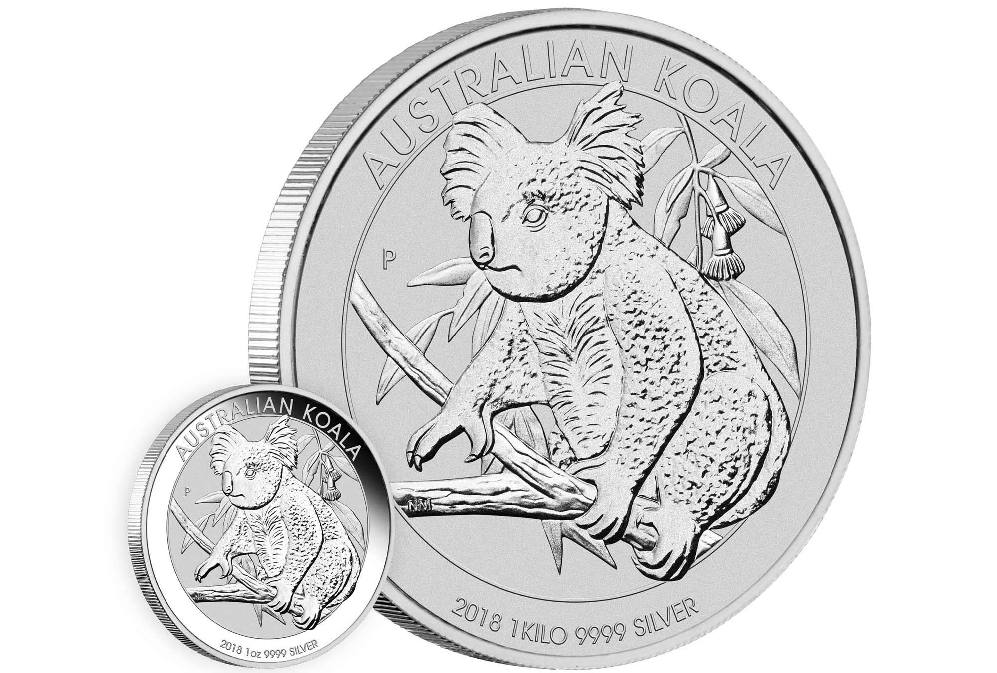 Photo des pièces d'argent Australie Koala 2018 1 once et 1 kilo