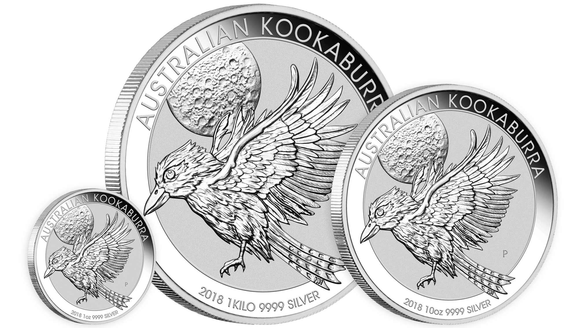 Image des trois pièces d'argent Kookaburra Australie 2018, 1 once, 10 onces et 1 kilo