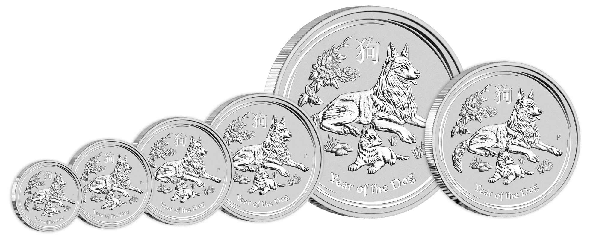 Pièces d'argent de l'année du Chien en différentes tailles