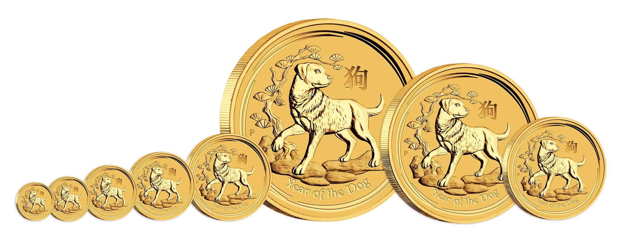 Pièces d'argent de l'année du Chien en différentes tailles : du 20eme d'once à la pièce d'un kilo d'or...