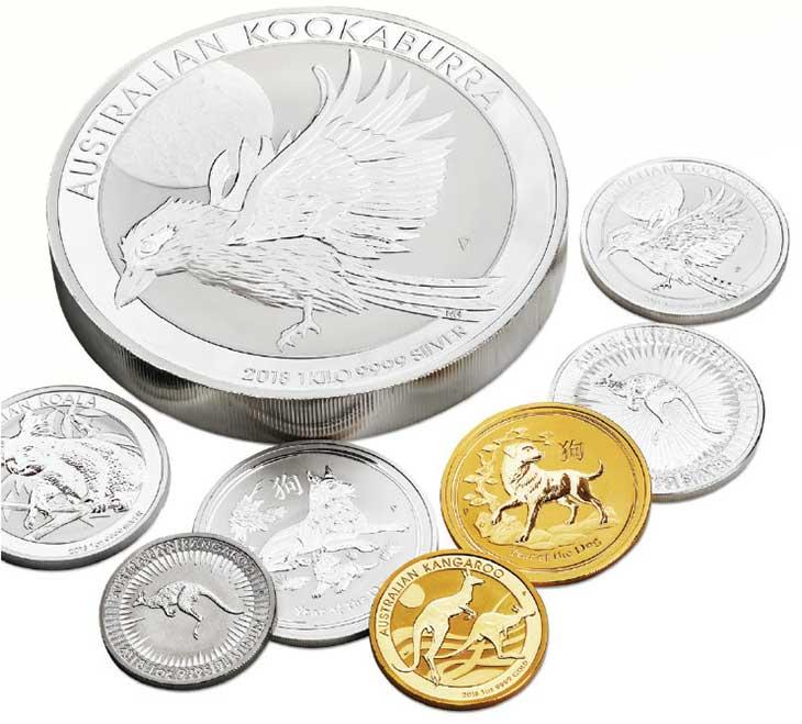 Photo d'une partie des nouvelles pièces d'or et d'argent d'investissement d'Australie 2018