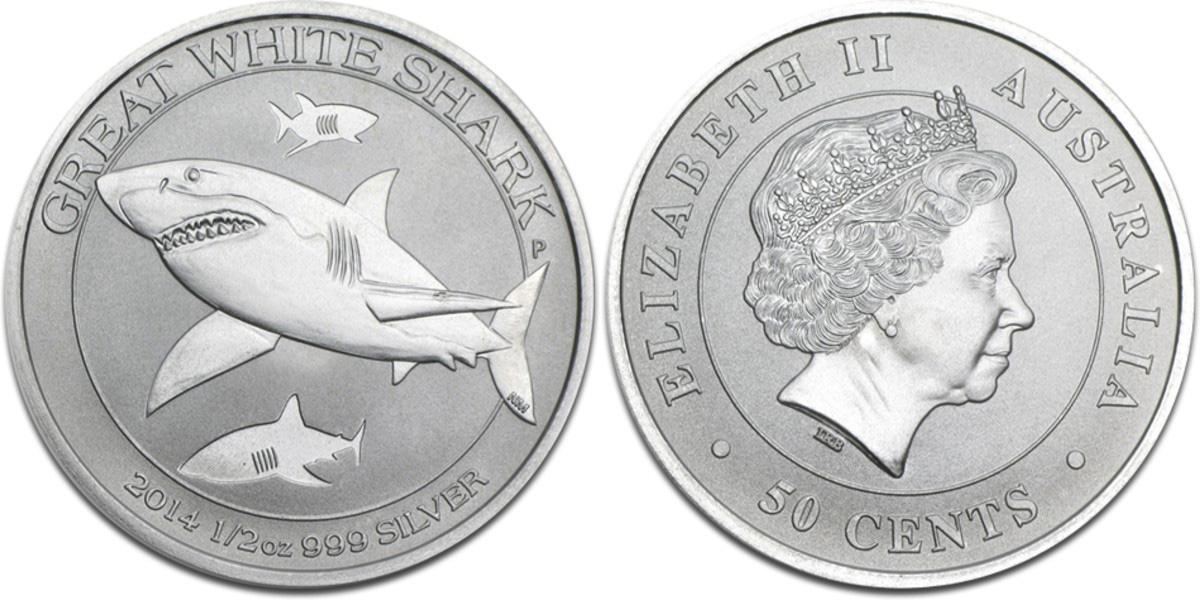 Piece d'argent au grand requin blanc d'Australie