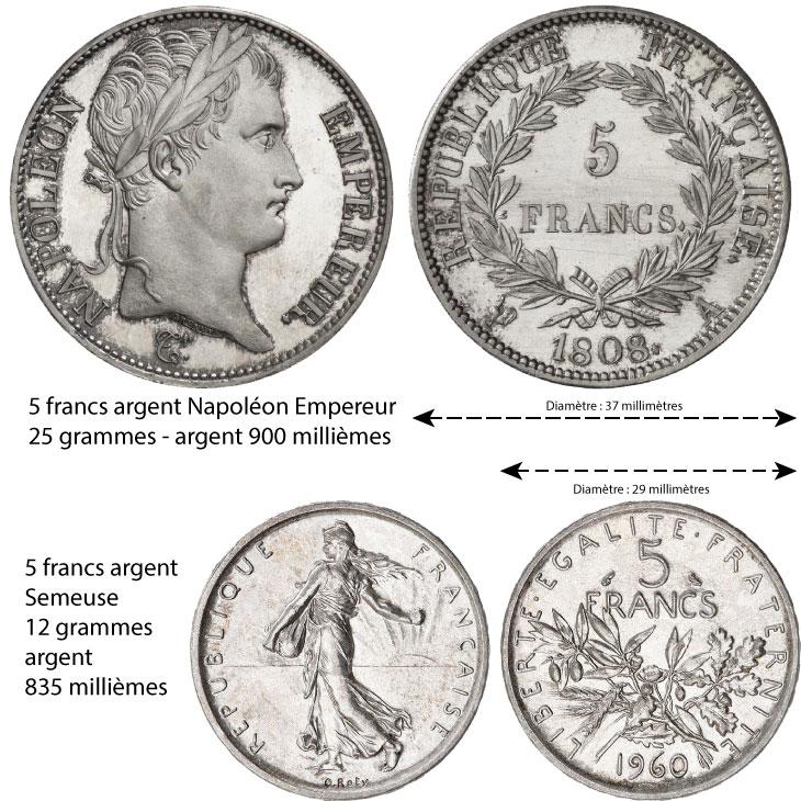 Les deux principales pièces d'argent de 5 francs (
