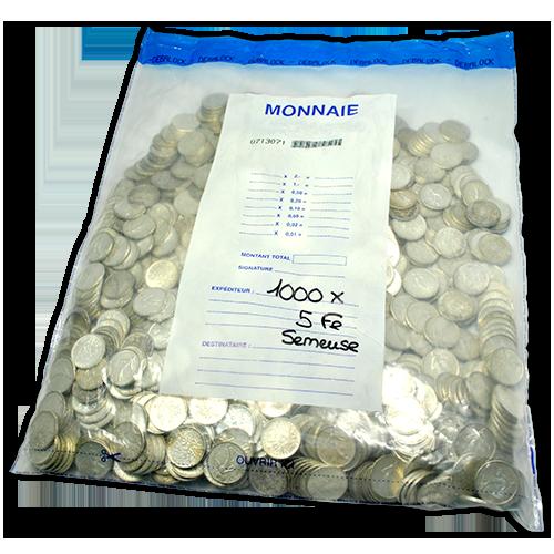 Exemple de sachet scellé contenant des pièces d'argent de 5 francs Semeuse