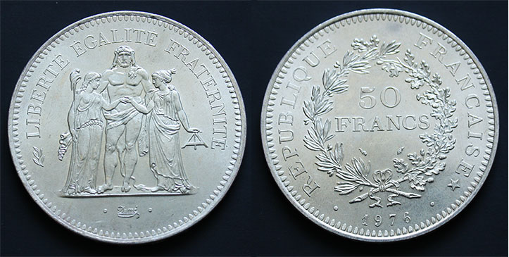 photo d'une pièce de 50 francs argent
