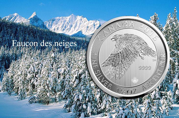 Photo de la nouvelle pièce d'argent d'une once et demie du Canada : le faucon des neiges