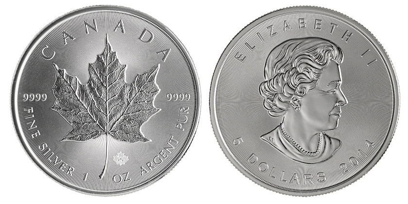 Photo de la Maple Leaf d'argent d'une once du Canada 2014