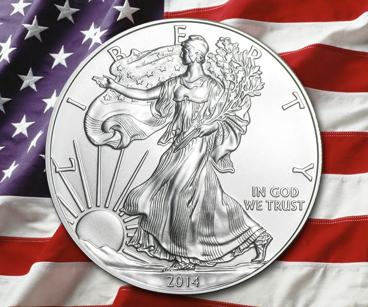 Photo de l'avers d'une pièce d'un dollar American Silver Eagle 2014