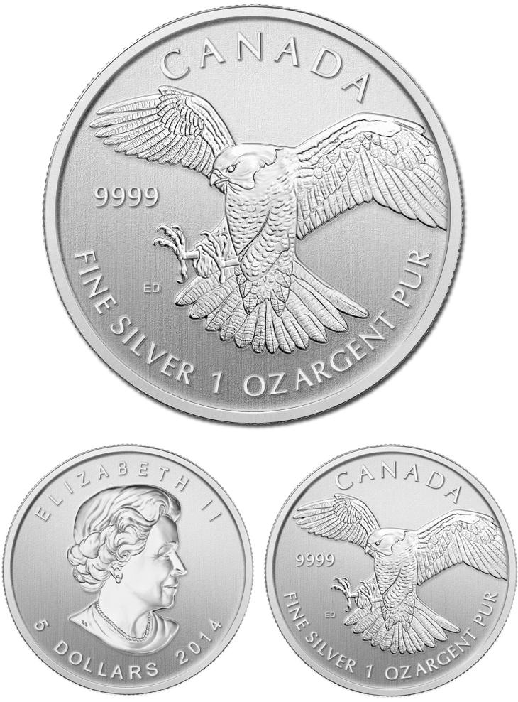 Piece d'argent d'une once faucon pelerin du Canada 2014