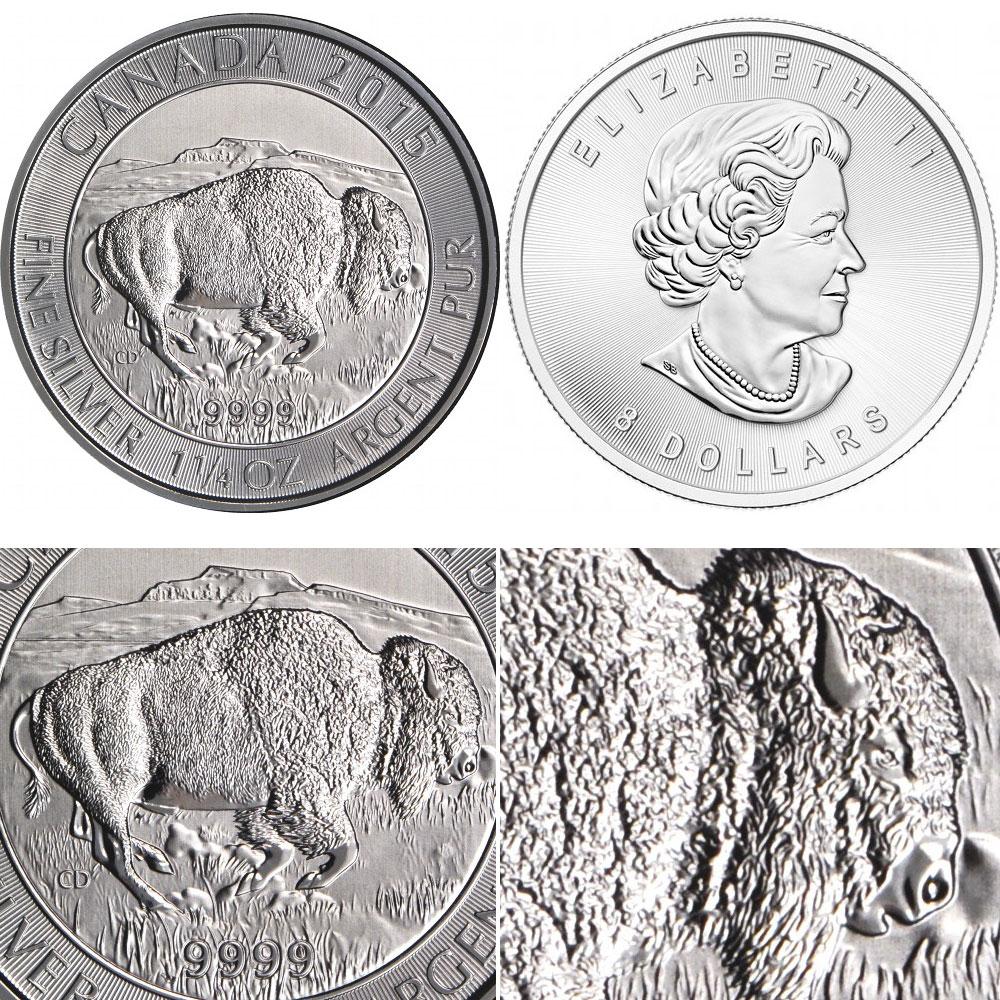 Piece d'argent bison du Canada 2015 1 once 1/4