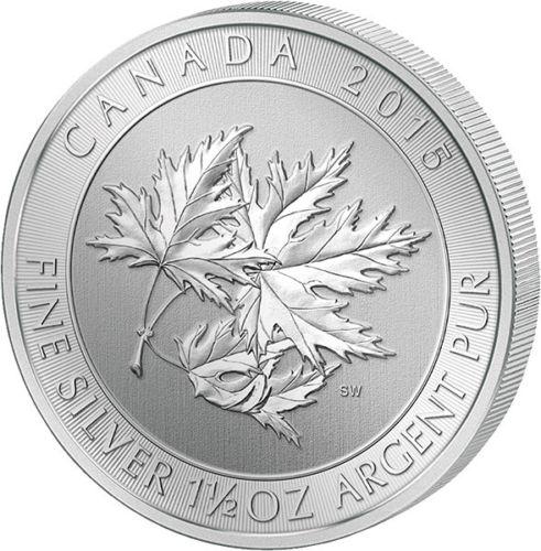 Photo de la pièce d'argent d'une once et demie du Canada Multi leaf