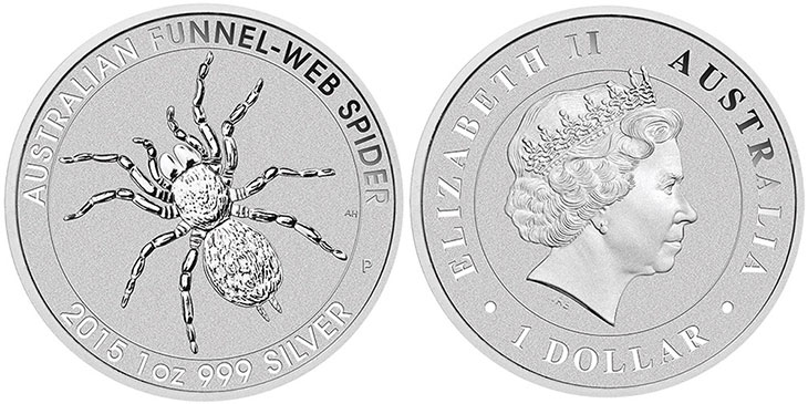 Photo de la pièce d'argent à l'araignée d'Australie de 2015