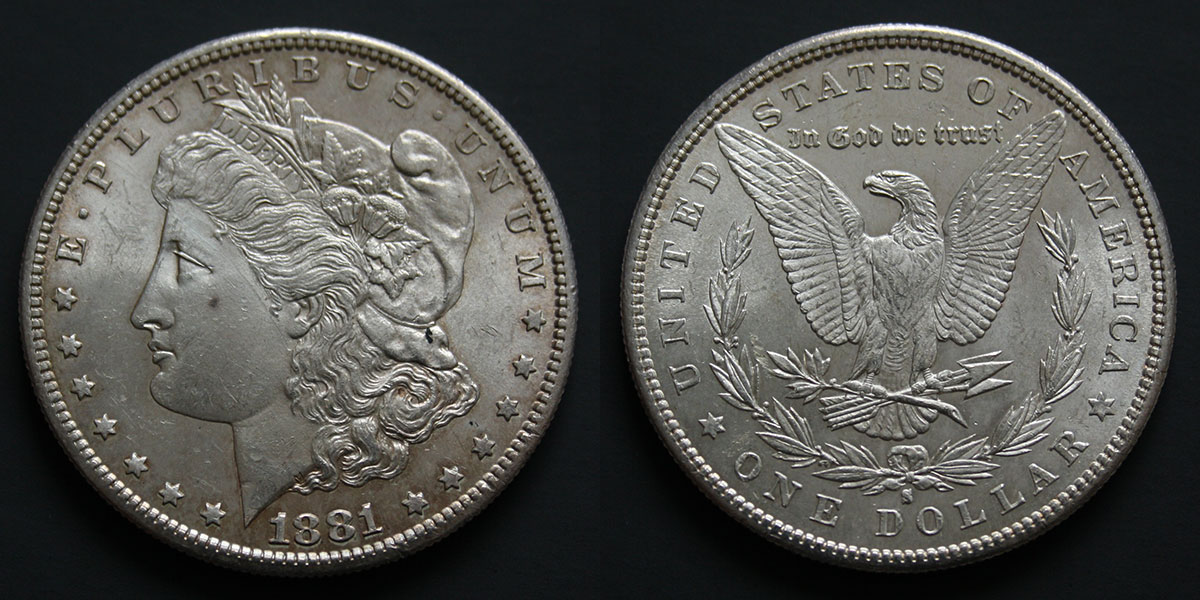 Photo d'une pièce Morgan dollar 1881