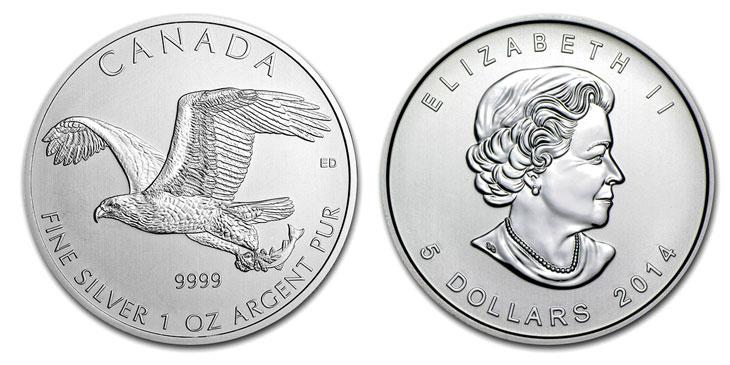 Photo de la pièce d'argent d'une once Pygargue tête blanche