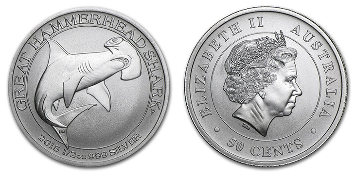Piece d'argent au requin marteau blanc d'Australie
