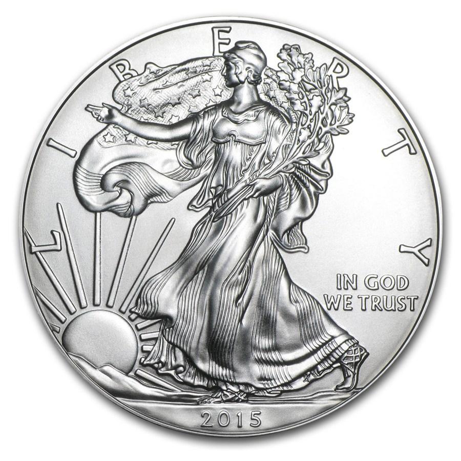 Photo d'une pièce d'argent américaine Silver Eagle 2015