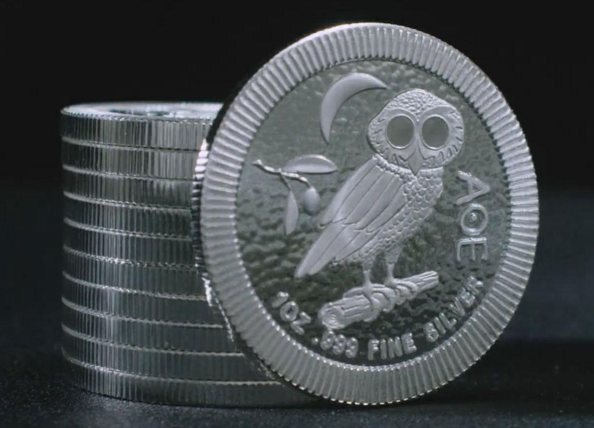 Pile de pièces d'argent 1 once argent Chouette d'Athènes