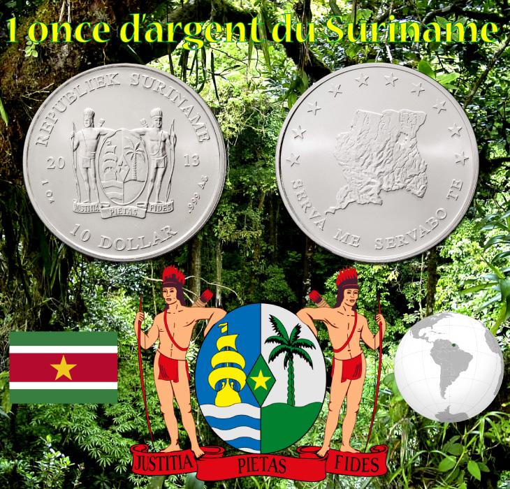 Pièce d'argent d'une once du Suriname
