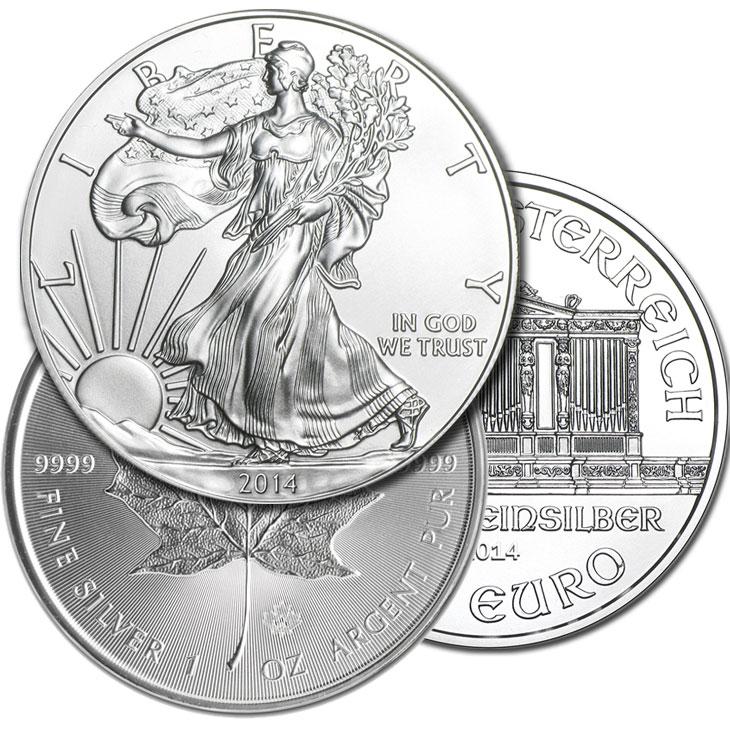 Pieces argent 1 once Etats-Unis, Canada, Autriche