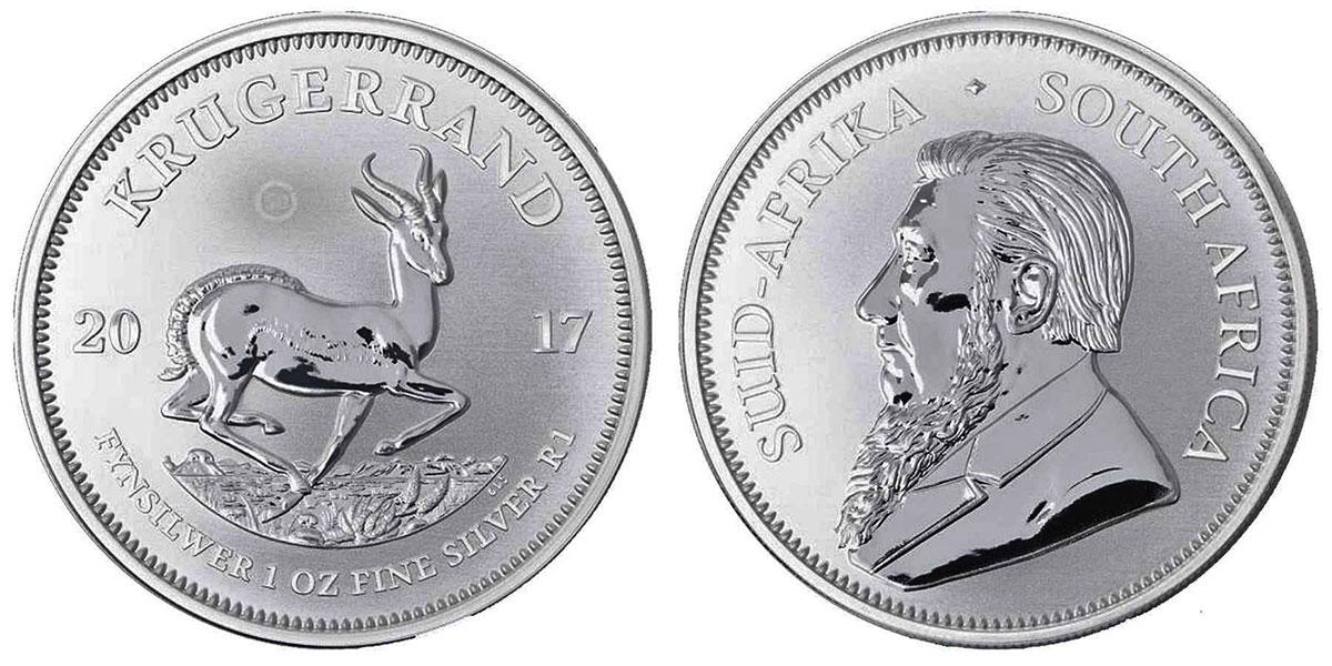 Pièce d'argent 1 once Krugerrand Afrique du Sud 2017